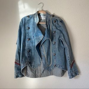 ONE TEASPOON Denim Military Jacket w Embroidered